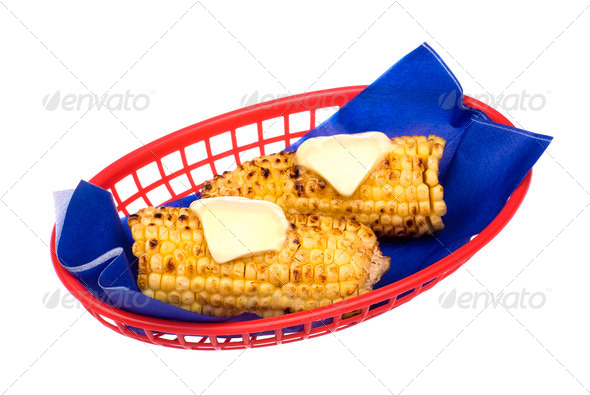 Basket of corn on the cob - Stock Photo - Images