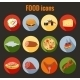 Set of Food Icons on Colorful Round Buttons - GraphicRiver Item for Sale