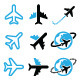 Plane, Flight, Airport Black and Blue Icons Set - GraphicRiver Item for Sale