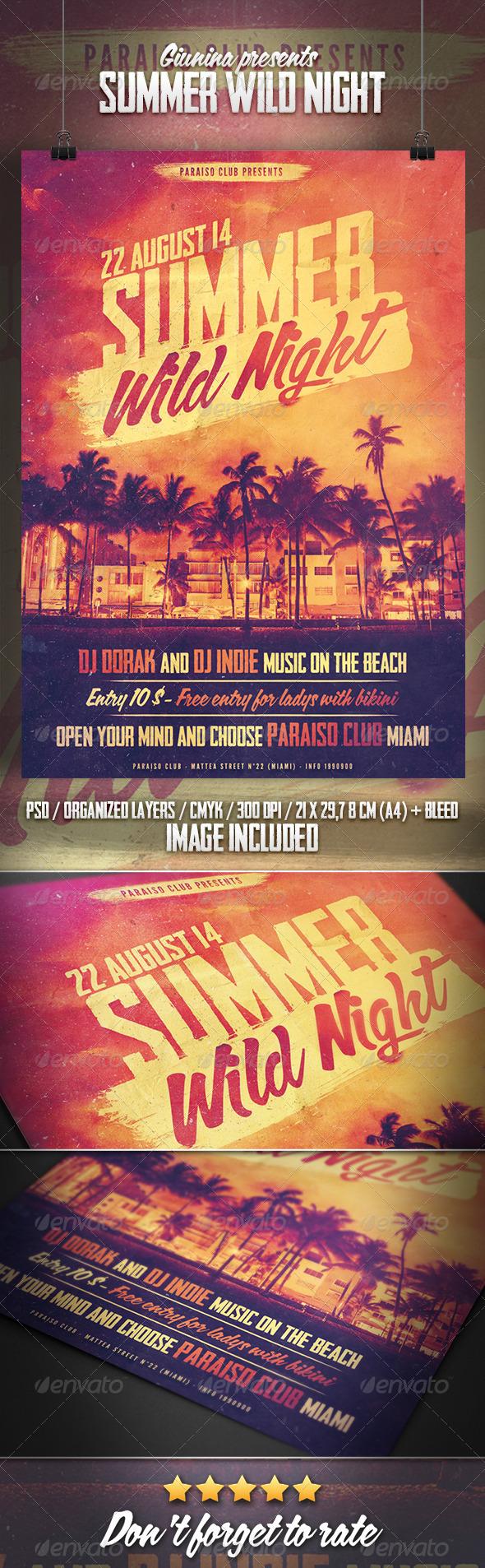 Summer Wild Night Flyer/Poster - Print Templates
