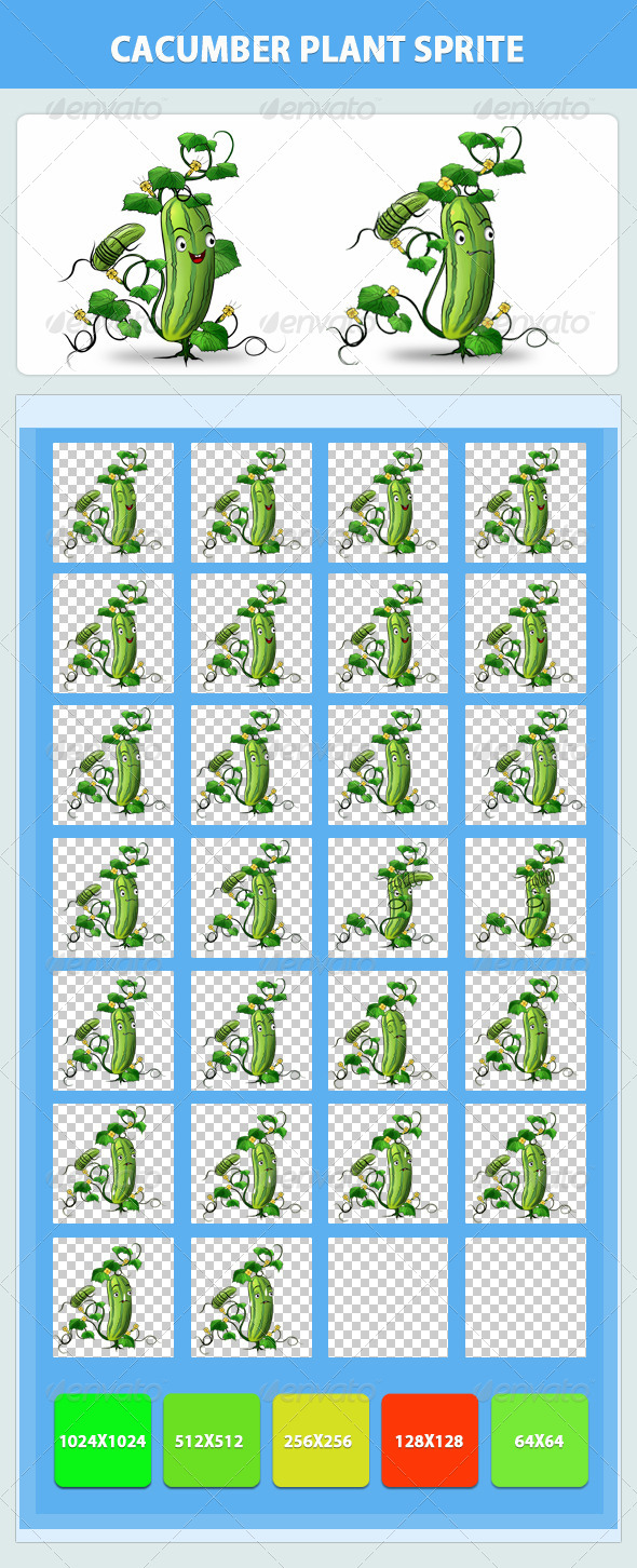 Cucumber Plant Game Sprite - Sprites Game Assets