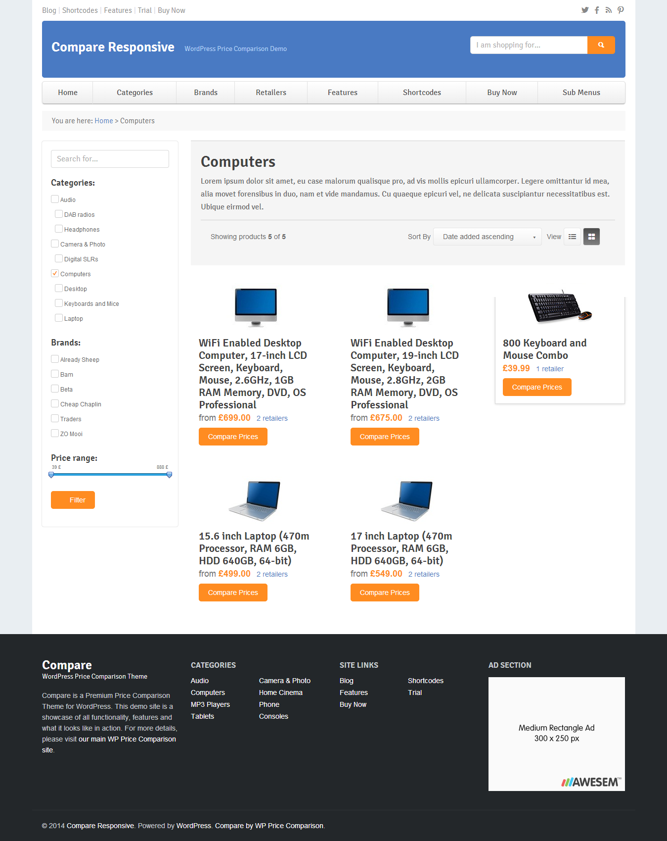 Compare   Price Comparison Theme For WordPress  Comparison Grid Template