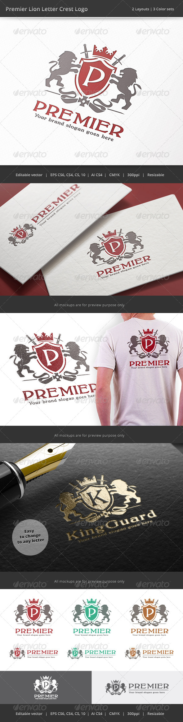 Premier Lion Letter Crest Logo