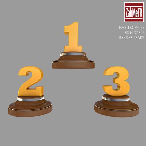 Trophies 1 - 2 - 3 Numbers 3d Model - 3DOcean Item for Sale