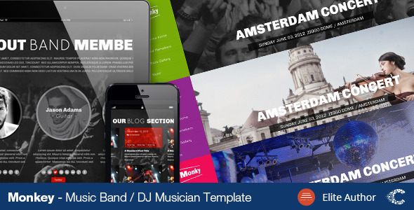Monkey Music Band PSD Theme - Events Entertainment