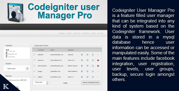 CodeIgniter User Manager Pro - CodeCanyon Item for Sale
