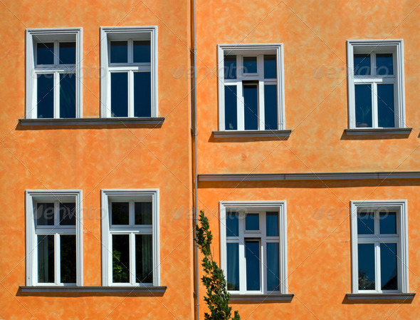 Orange facade - Stock Photo - Images