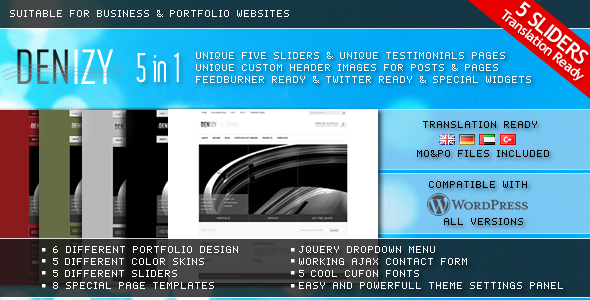 DENIZY 5 in 1 Business & Portfolio Wordpress Theme - Business Corporate
