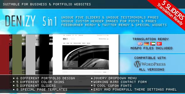 Free Download DENIZY 5 in 1 Business & Portfolio Wordpress Theme Nulled Latest Version