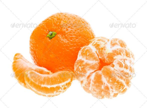Peeled Mandarin Tangerine Orange Fruit Isolated On White Backgro - Stock Photo - Images