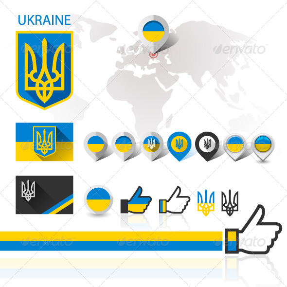 Flag and Coat of Arms Ukraine with World map - Vectors