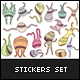 Monster Family Stickers Set - GraphicRiver Item for Sale
