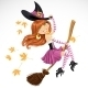 Witch Flying on a Broomstick - GraphicRiver Item for Sale