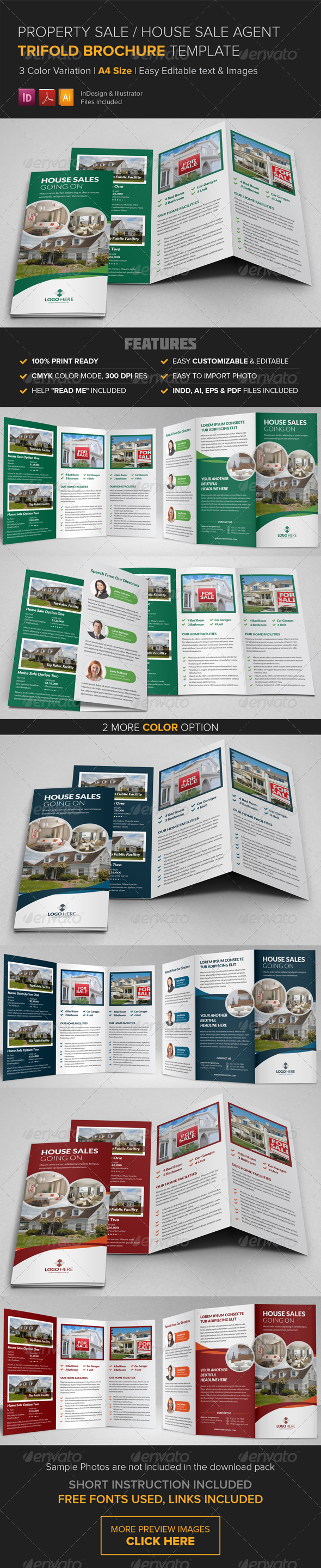 Property Sale Trifold Brochure Template By JanySultana GraphicRiver - Sales brochure template