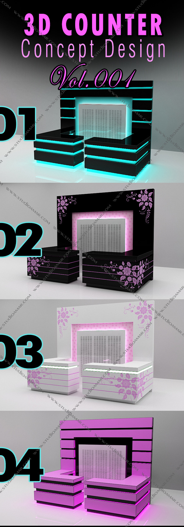 3D Counter Concept Design 129 Vol.1 - 3DOcean Item for Sale