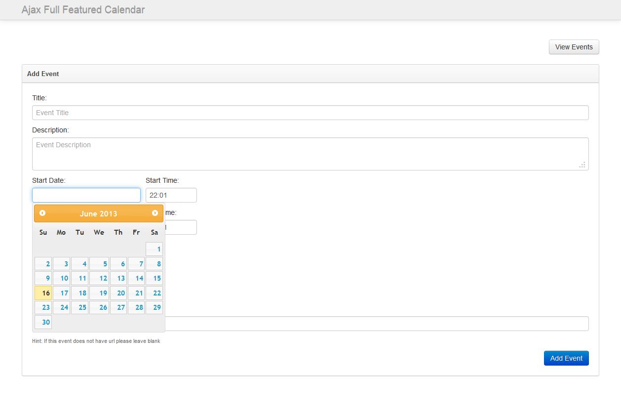 Ajax Full Featured Calendar