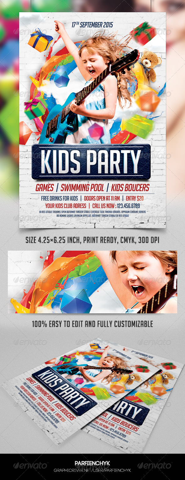Kids Party Flyer Template - Clubs & Parties Events