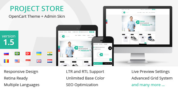 Project Store – OpenCart Theme + Admin Skin