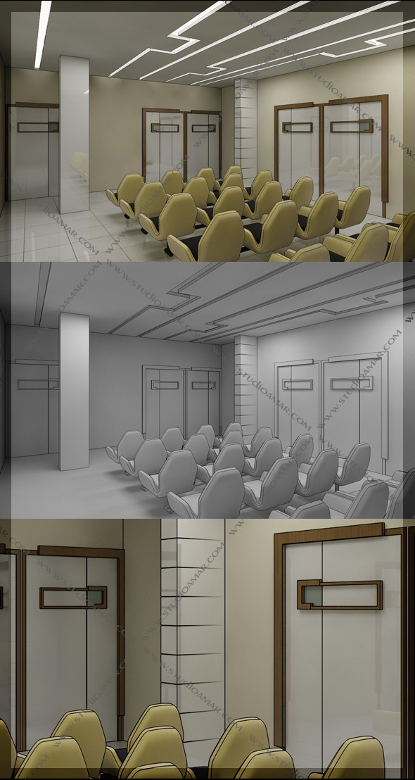 Waiting Area Hall 3D 130 - 3DOcean Item for Sale