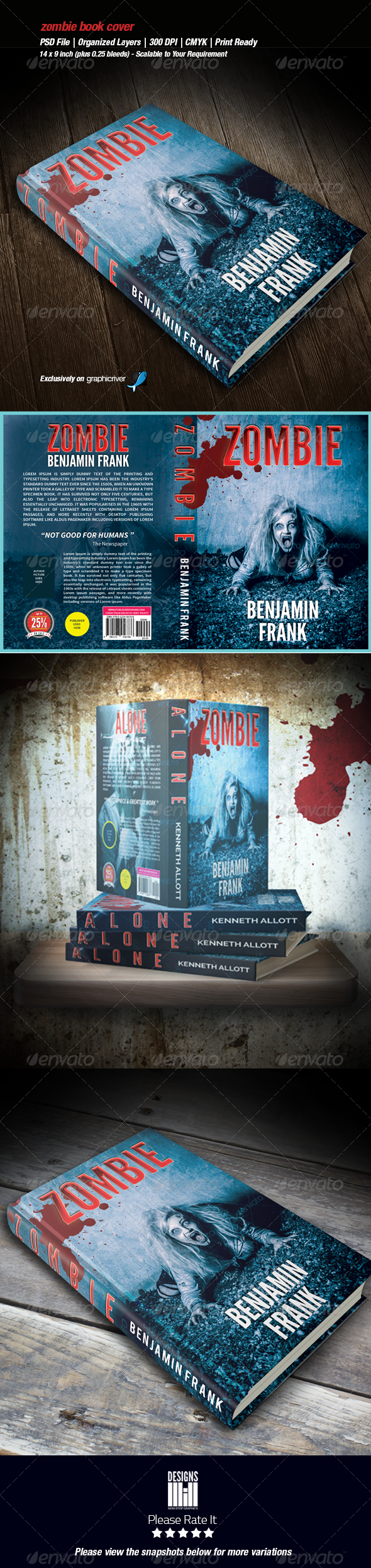 Zombie Book Cover 01 - Miscellaneous Print Templates