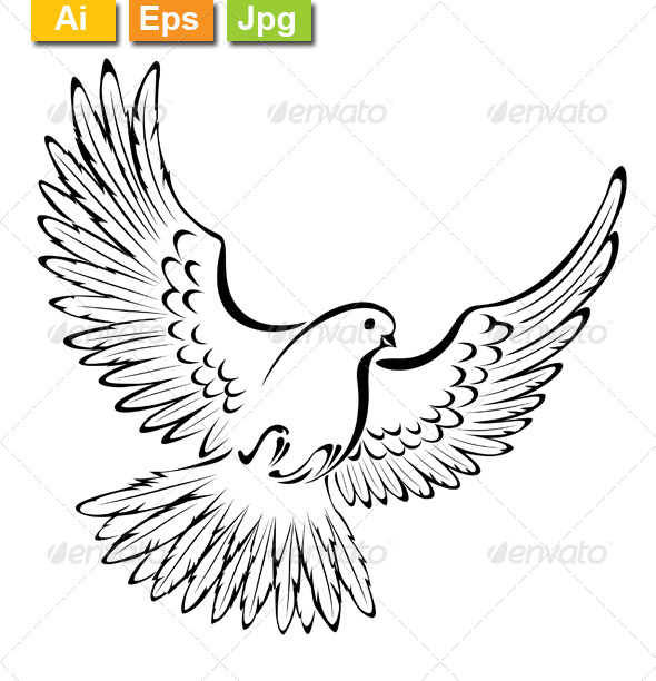 Drawing Lines In Keynote : Stylized dove by blackmoon graphicriver
