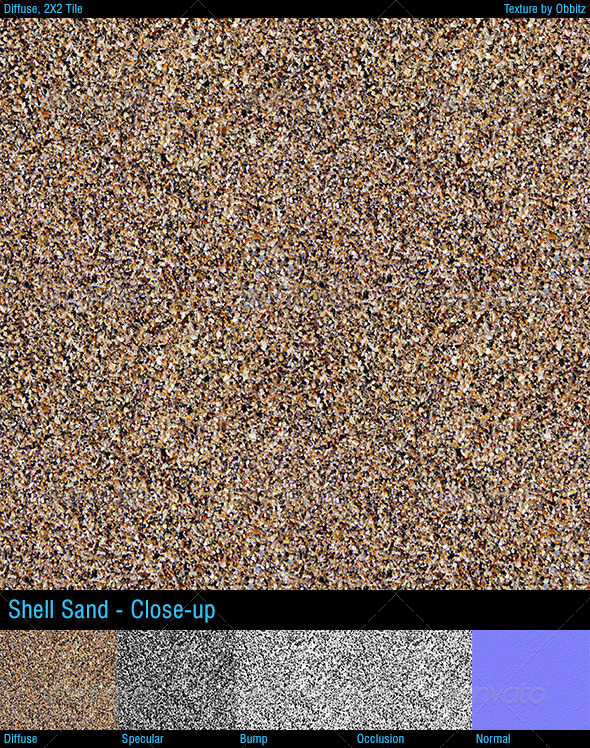 Shell sand - closeup - 3DOcean Item for Sale