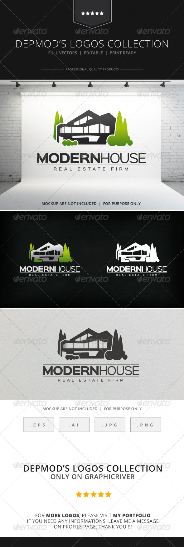 Modern house logo by opaq graphicriver for Modern house logo