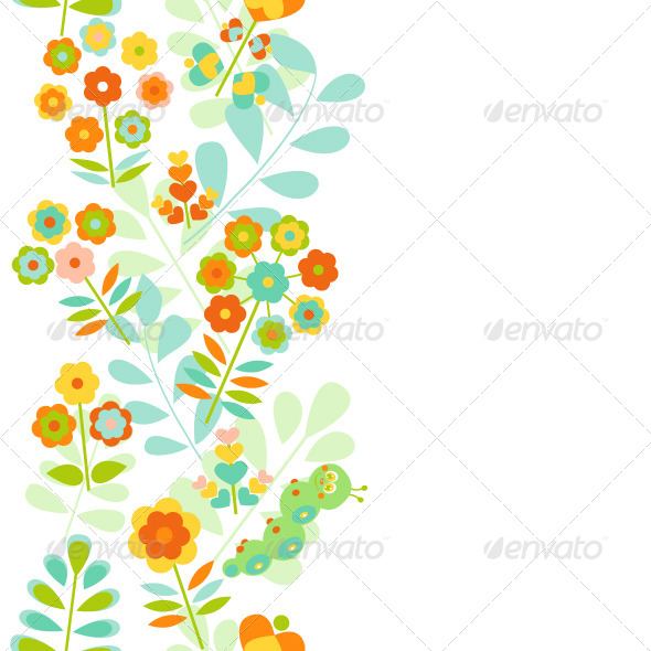 Seamless Floral Border - Backgrounds Decorative