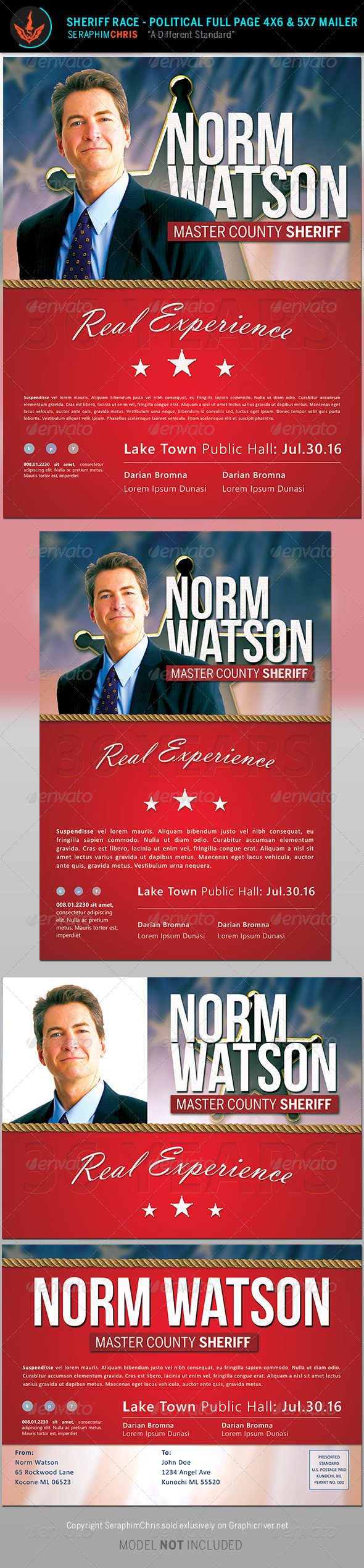 Sheriff Race: Political Flyer and Mailer Template by SeraphimChris