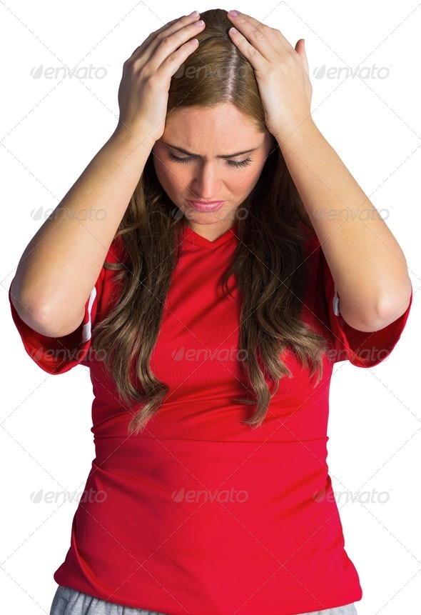 Disappointed football fan looking down on white background - Stock Photo - Images