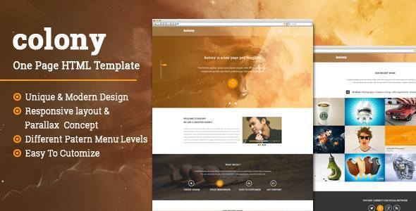 Colony One Page Parallax Html Template By Themeskanon Themeforest