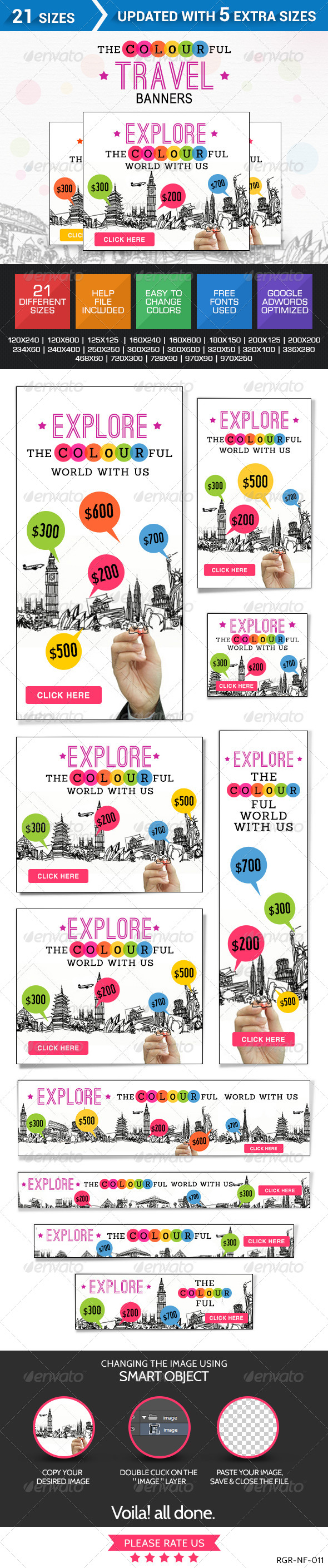 Colourful Travel Banner Set - Banners & Ads Web Elements