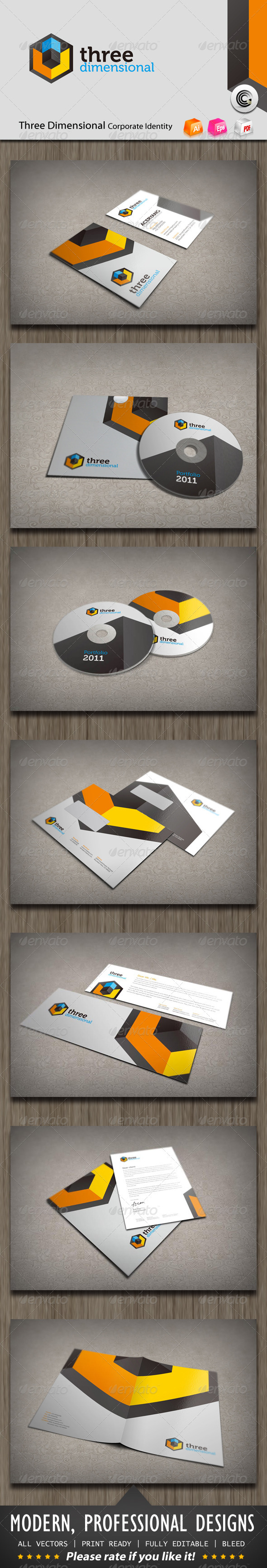 Three Dimensional Corporate Identity - Stationery Print Templates