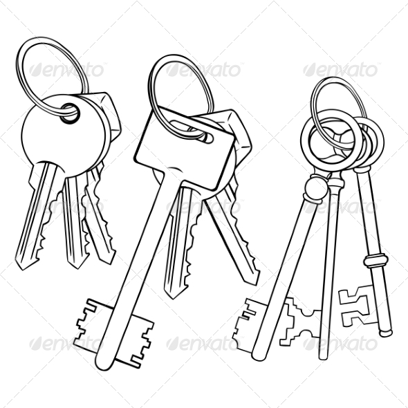 Vector Set Of Lineart Bunches Of Keys By Nikiteev | GraphicRiver
