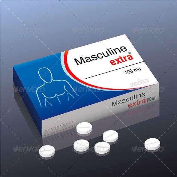 Masculine Extra Pill - Health/Medicine Conceptual