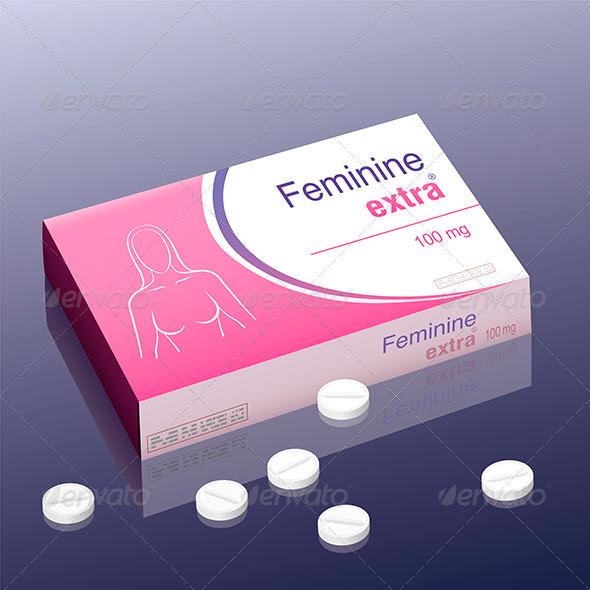 Feminine Extra Pill - Health/Medicine Conceptual