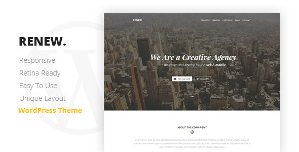 RENEW – Creative One Page WordPress Theme