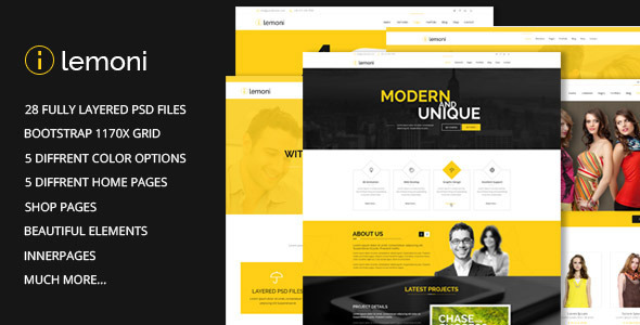 Lemoni - Pixel Perfect & Multipurpose PSD Template - Corporate PSD Templates