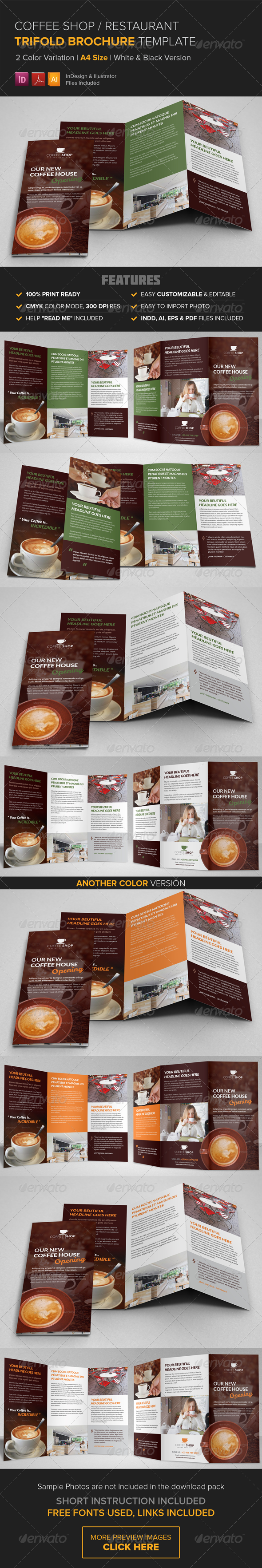 Coffee Shop Restaurant Trifold Brochure Template   Corporate Brochures
