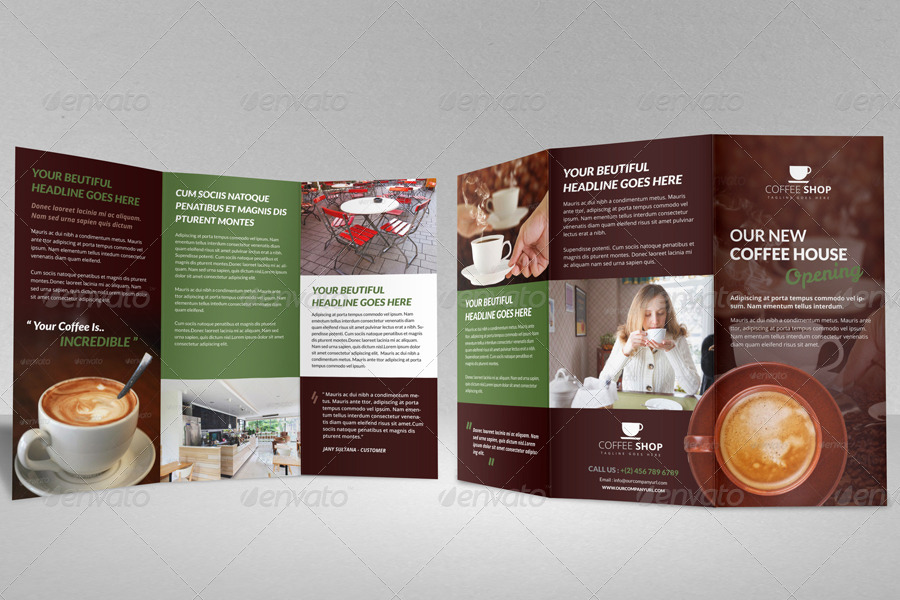 Coffee Shop Restaurant Trifold Brochure Template By Janysultana