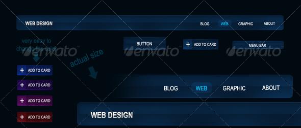 The Blue Knight - Stylish Royal Web 2.0 Navigation - Buttons Web Elements