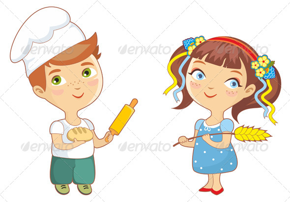 Baker Children Boy and Girl - People Characters