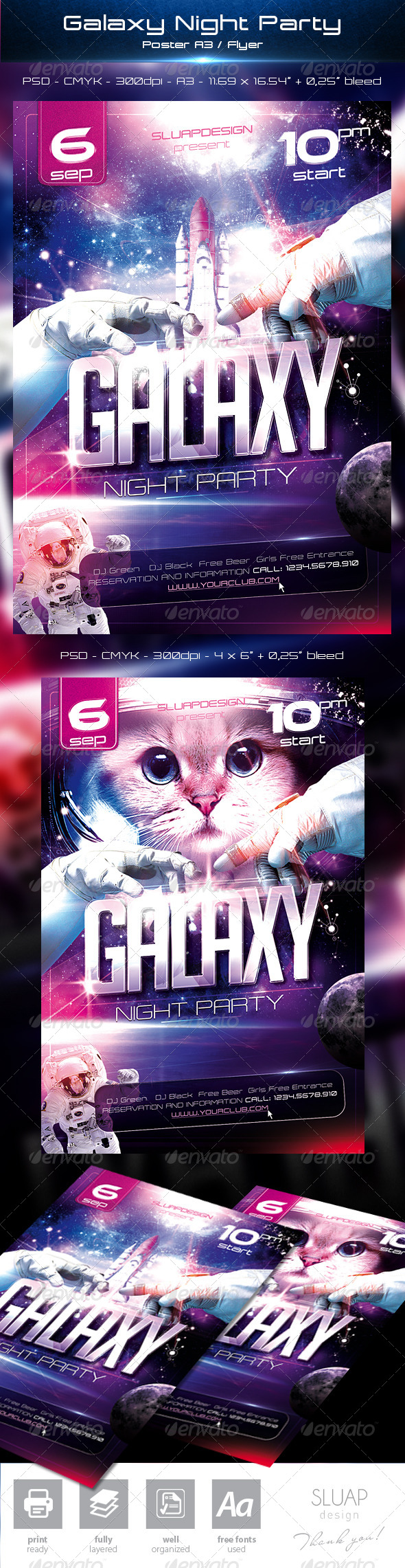 Galaxy Night Party Templates - Events Flyers