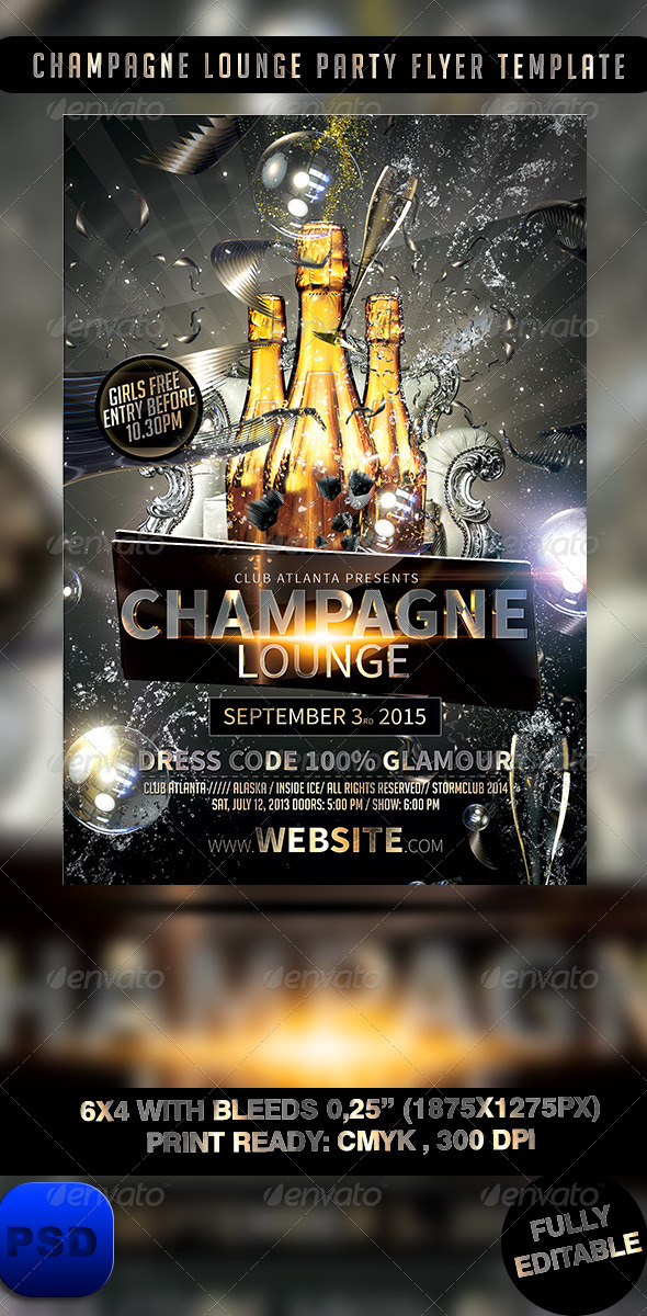 Champagne Lounge Party Flyer Template By Stormclub | Graphicriver