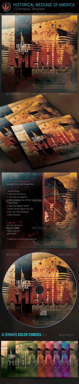 Historical Message of America CD Artwork Template - CD & DVD Artwork Print Templates