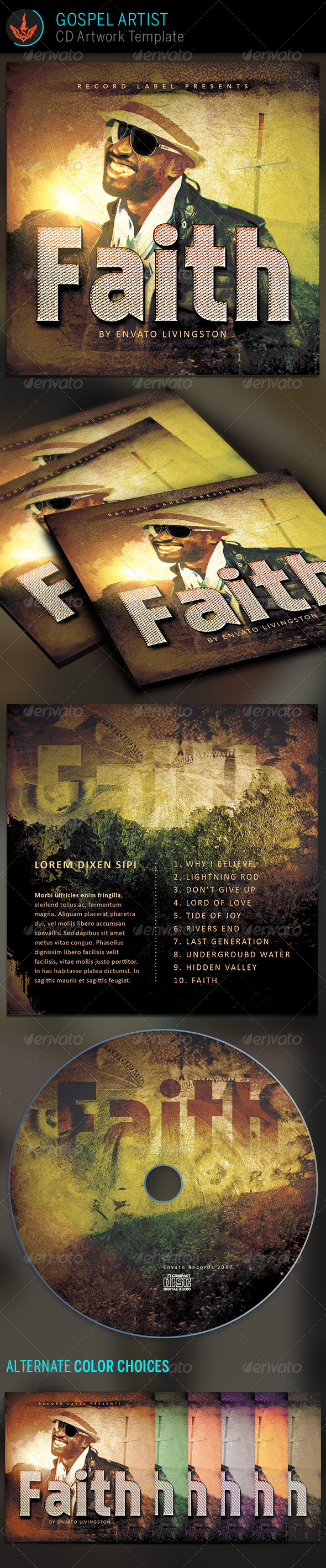 Gospel Artist CD Artwork Template - CD & DVD Artwork Print Templates