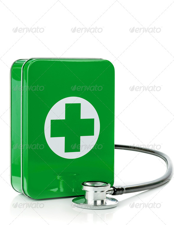 A First Aid Box with Stethoscope - Stock Photo - Images