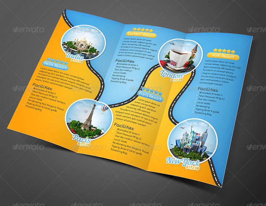 tour  u0026 travel trifold brochure by fathurfateh