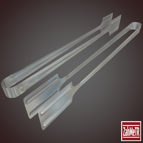 Cake Tong 3D Model Low - High Poly