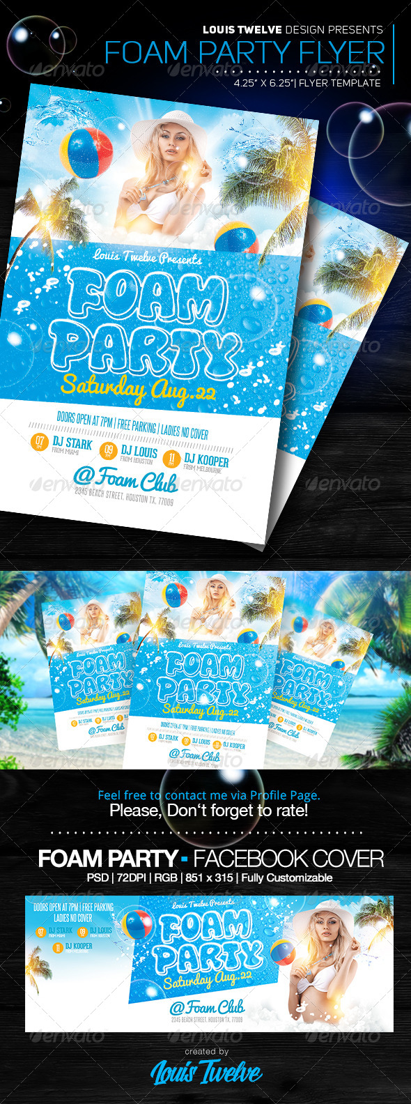Foam Party v3 | Flyer + FB Cover - Clubs & Parties Events
